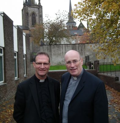 Best of friends: Church of Ireland's Dean Kenneth Hall and Romanist ecumenical buddy blocking memorial to IRAvictims